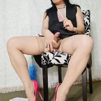 Asian Ladyboy Krissy Kyung Cleaning House And Stroking Cock!