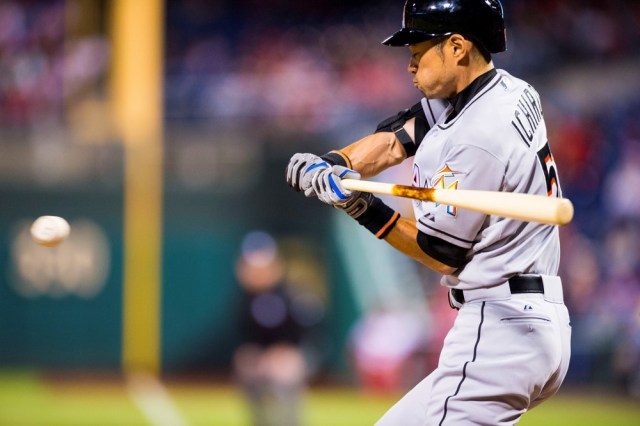 21 Apr 2015: Miami Marlins left fielder Ichiro Suzuki (51) swings at the pitch during the MLB game between the Miami Marlins and the Philadelphia Phillies played at the Citizens Bank Park in Philadelphia, PA