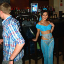 Sexy mongolian is undressing at public bar