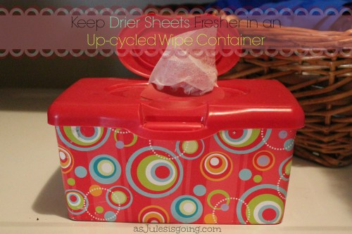 Keep Drier Sheets Fresher in an Up-Cycled Wipe Container