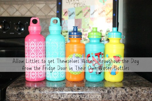Prevent Cavities by giving littles their own water bottles and allowing them to get their own water