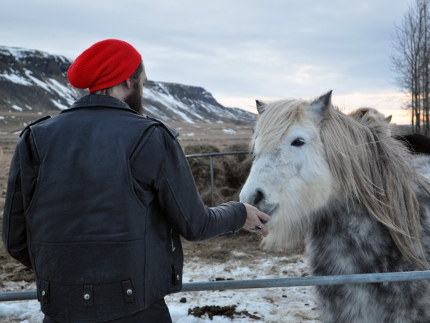 George with the horses, Iceland