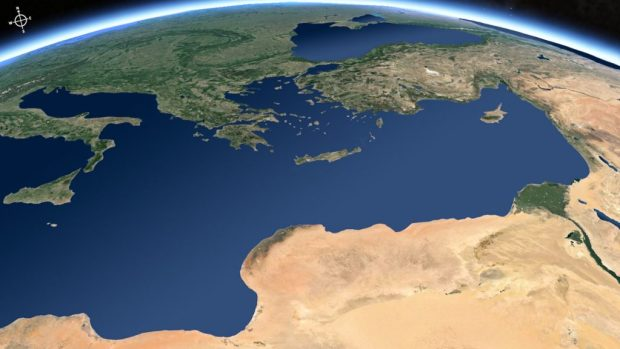 Satellite view of the Eastern Mediterranean. (Free Bible Images)