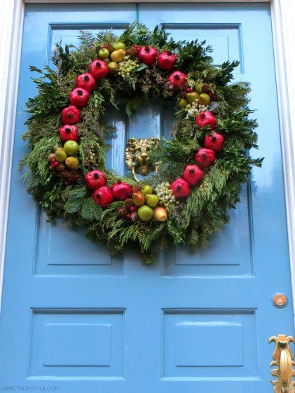 Christmas wreath in Beacon Hill, Boston