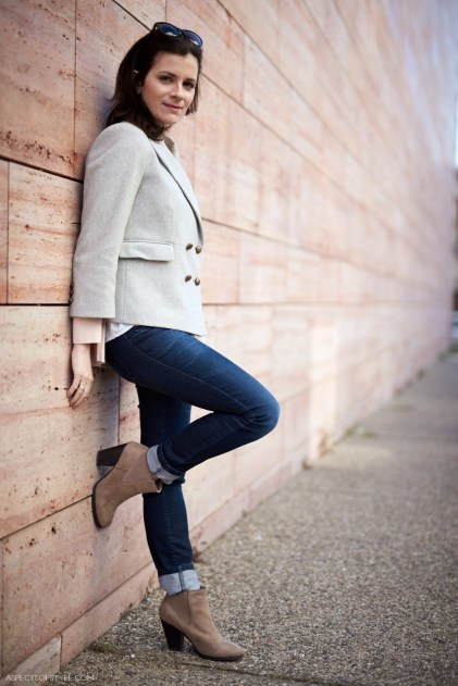 Grey jacket and Call it Spring beige boots