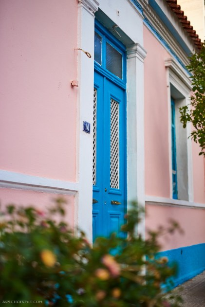 pink and blue house in Gazi, Athens