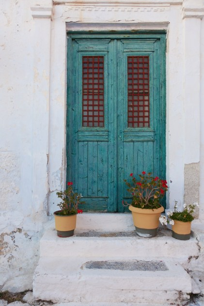teal door in Chora Amorgos, Greece
