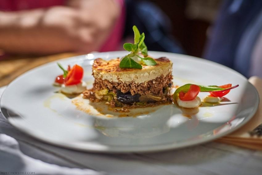 Mousaka at Avli Restaurant, Rethymno, Crete, Greece