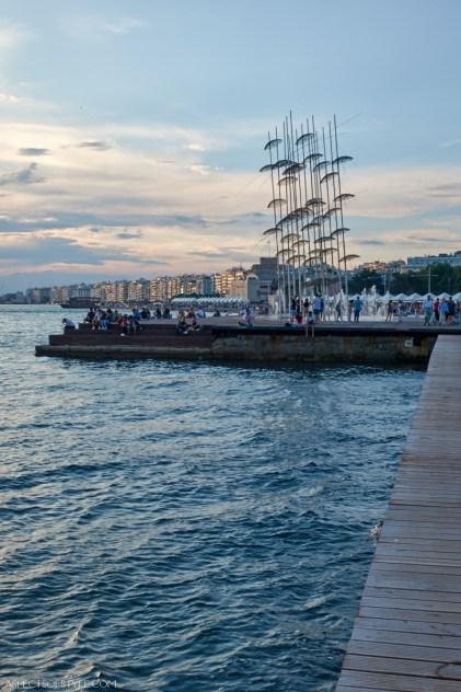 Thessaloniki seaside promenade and the Umbrellas sculpture
