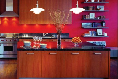 modern kitchen and interior design with red decorating