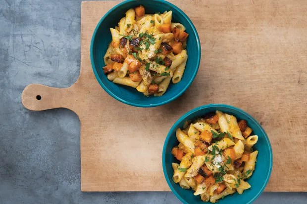 Penne with Roasted Butternut Squash / Photo by Liz Clayman