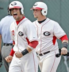 Matt Cerione (left) collected two ninth inning game-winning hits to lift Georgia to a series victory over Arkansas.  (ESPN Photo)