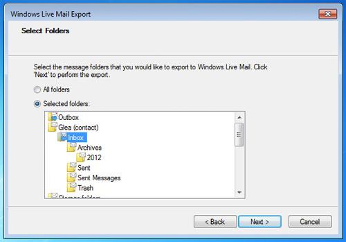 Select email folder