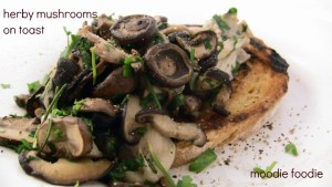 Herby mushrooms on toast