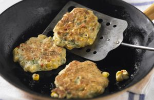 Sweetcorn, chilli and coriander griddle cakes