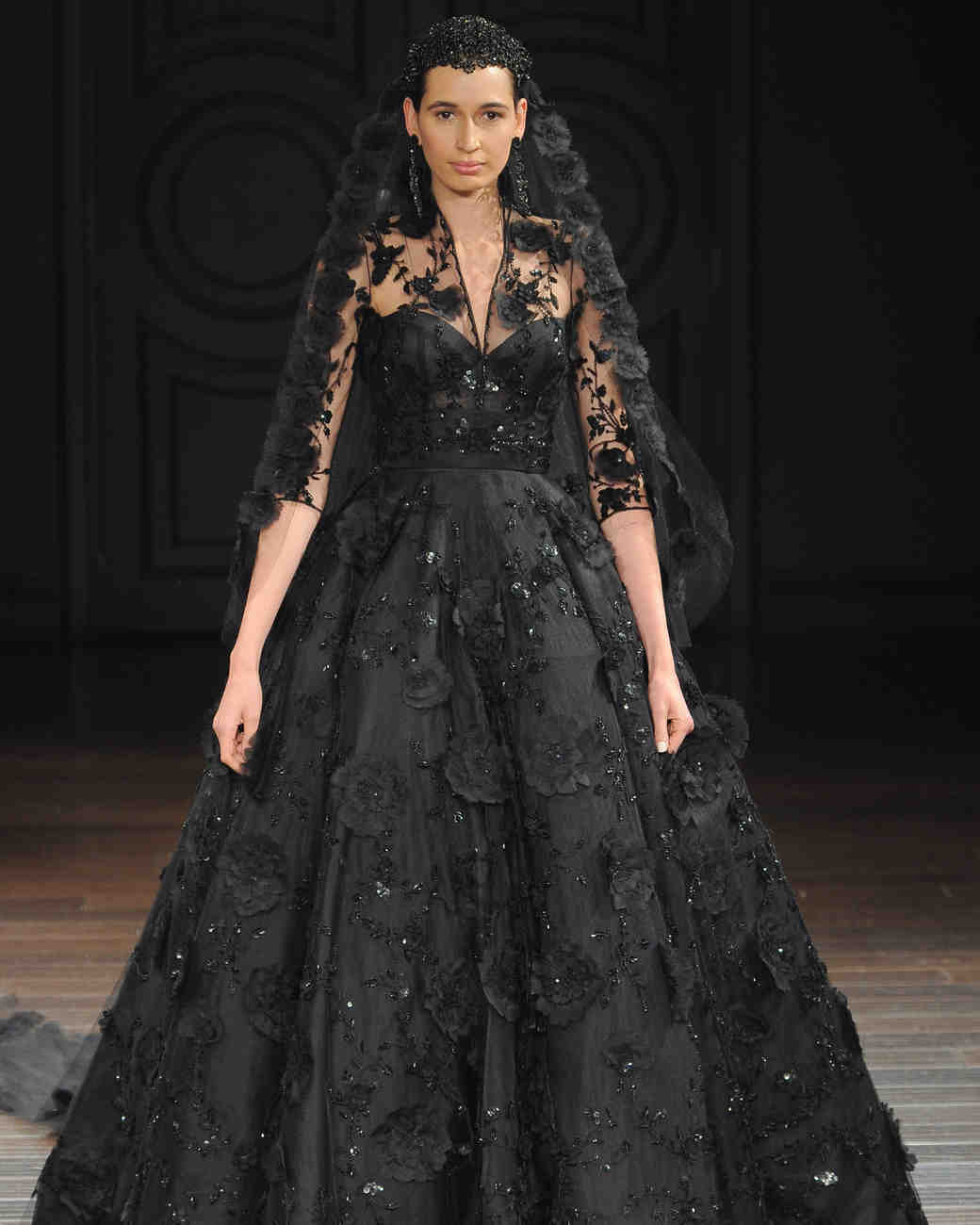 black wedding dresses wedding dresses black Naeem Khan embellished black wedding dress