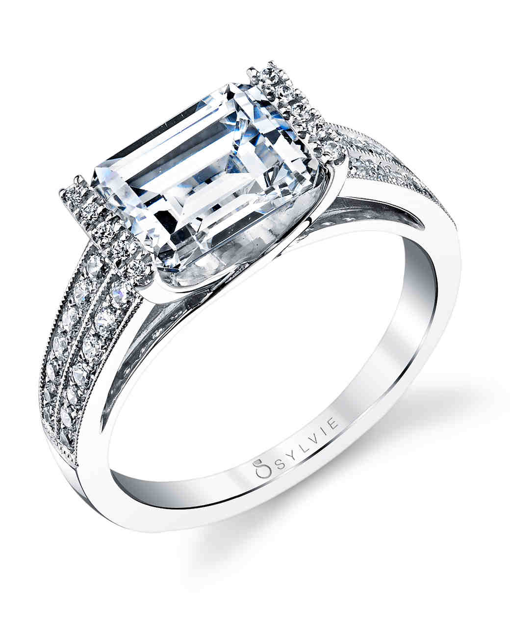 emerald cut diamond engagement rings emerald wedding rings Sylvie Collection Emerald Cut Engagement Ring