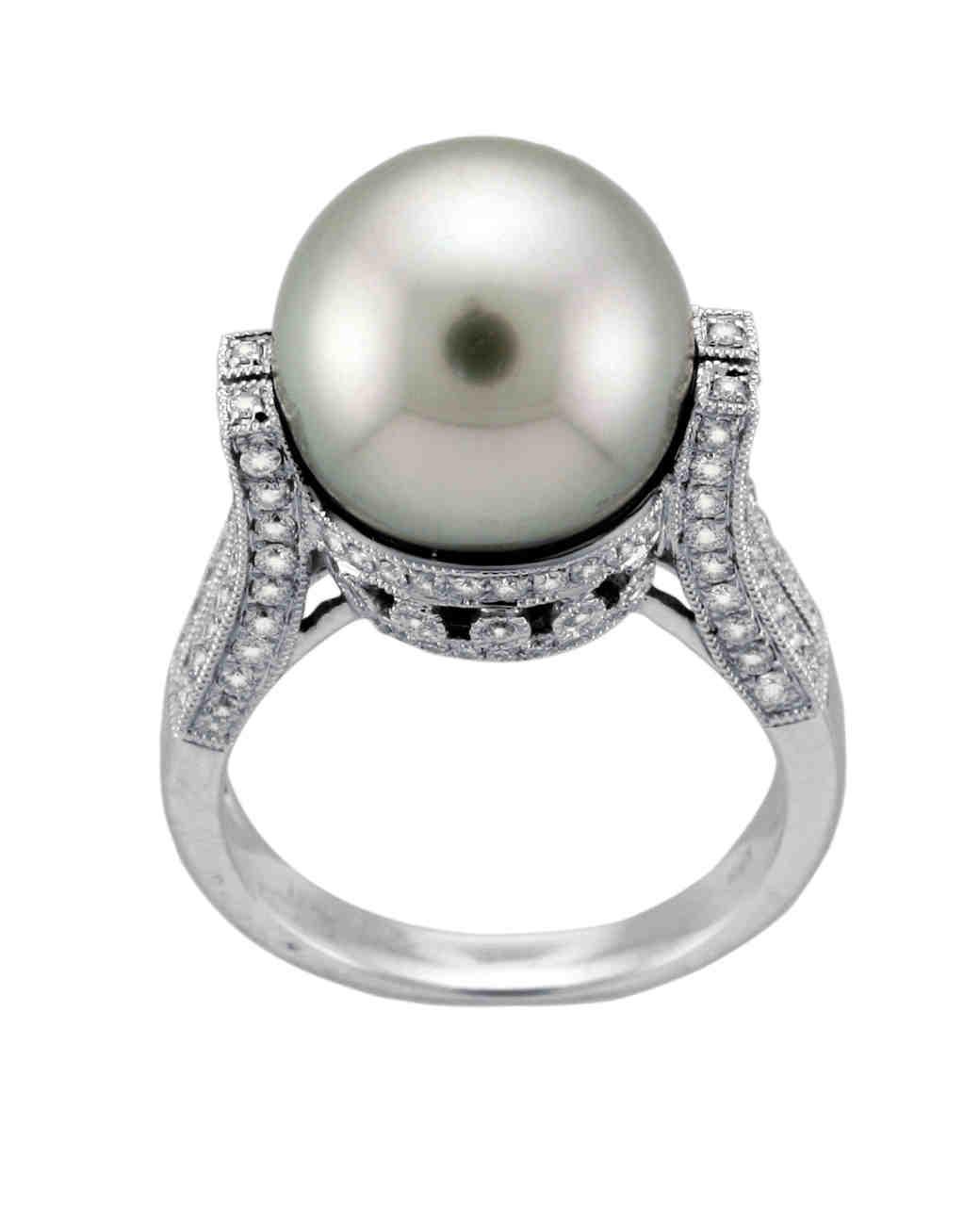 pearl wedding rings pretty wedding rings Pearl wedding rings Pretty Pearl Enement Rings Martha Stewart Weddings