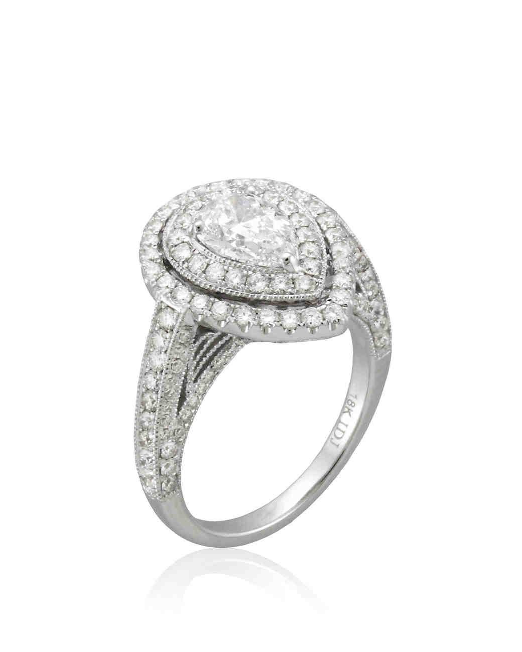 pear cut diamond engagement rings tear drop wedding ring Yael Designs Pear Cut Engagement Ring