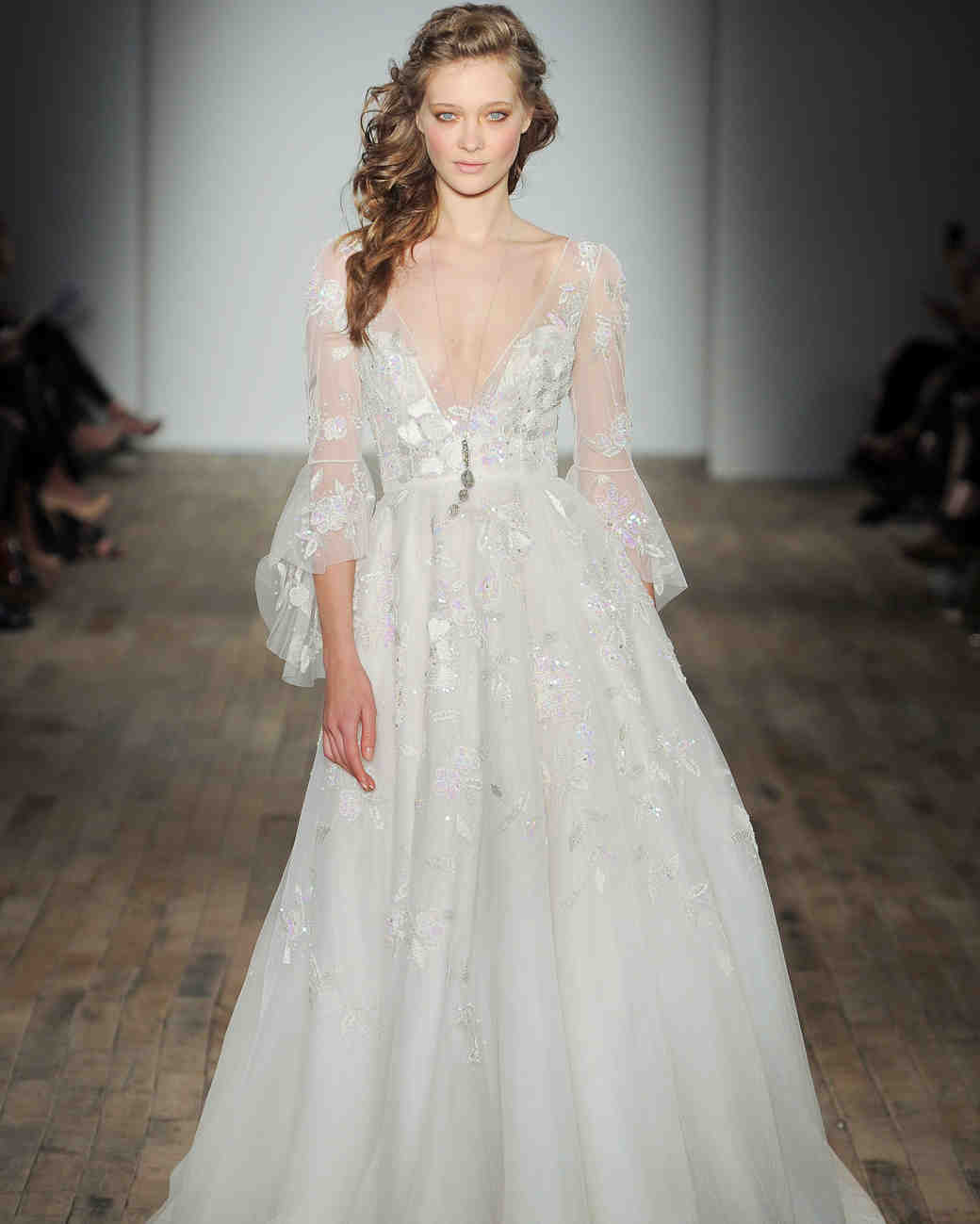 hayley paige wedding dresses spring bell sleeve wedding dress bell sleeve v neck Hayley Paige Spring Wedding Dress Collection