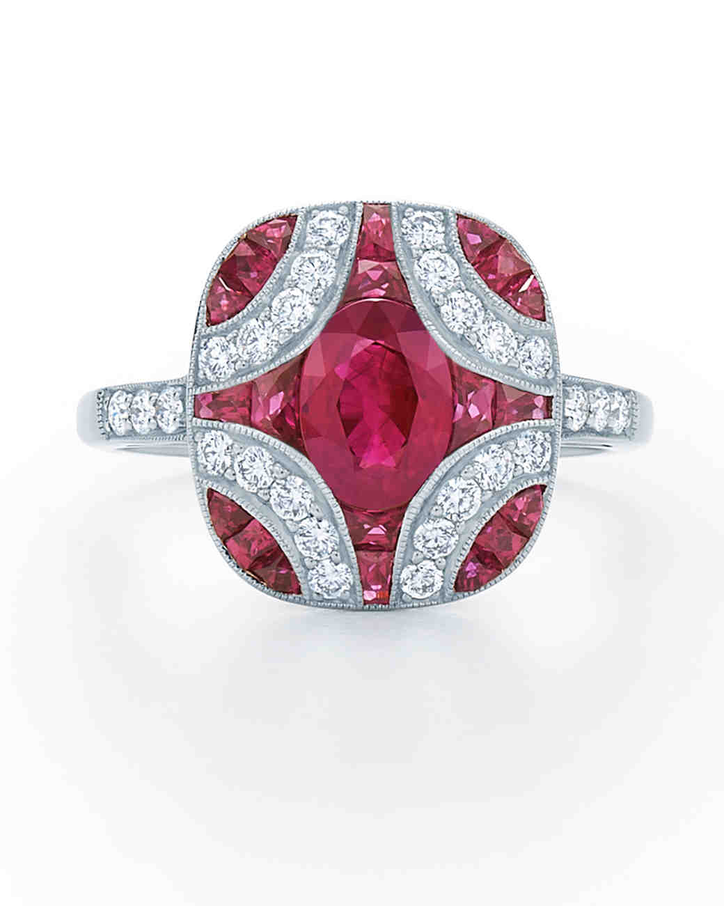 ruby engagement rings ruby wedding rings Kwiat Vintage Ruby Engagement Ring with Diamond Detailing
