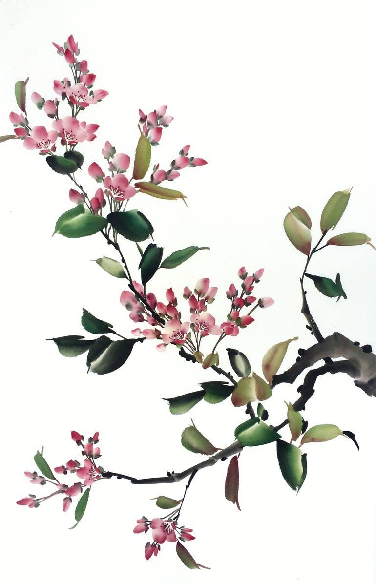 Excellent Saatchi Art Artist Mayee Painting Saatchi Chinese Painting Cherry Blossom Painting By Mayee Futterman Cherry Blossom Art Dc Cherry Blossom Artwork On Canvas baby Cherry Blossom Art