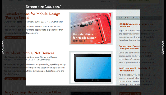 The screen size shows the currently visible area of a webpage. The viewport extends out beyond the currently visible area, and can be panned and zoomed.