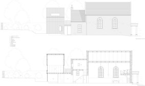 The Providence Chapel in Wiltshire by Jonathan Tuckey Design, Proposed Sections | Yellowtrace.