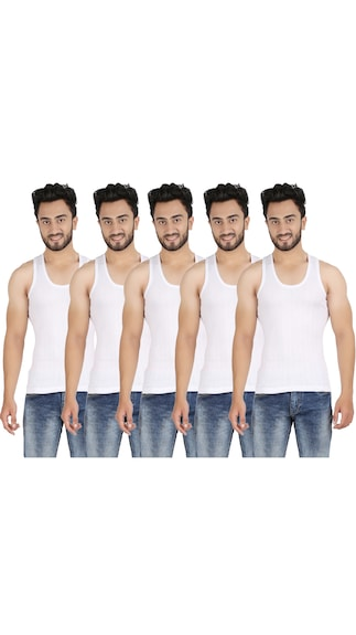Pine White Cotton Pack Of 5 Vest