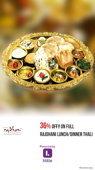 Rajdhani-Pune : 36% OFF!! on Full Rajdhani Lunch/Dinner Thali @ Rajdhani