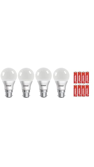 Eveready 9 Watt Cool Daylight 4 Bulbs With 8 Batteries Free