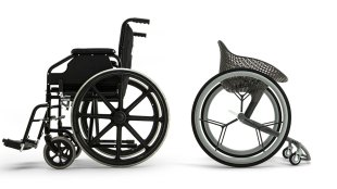 side by side comparison of Go and a traditional wheelchair.