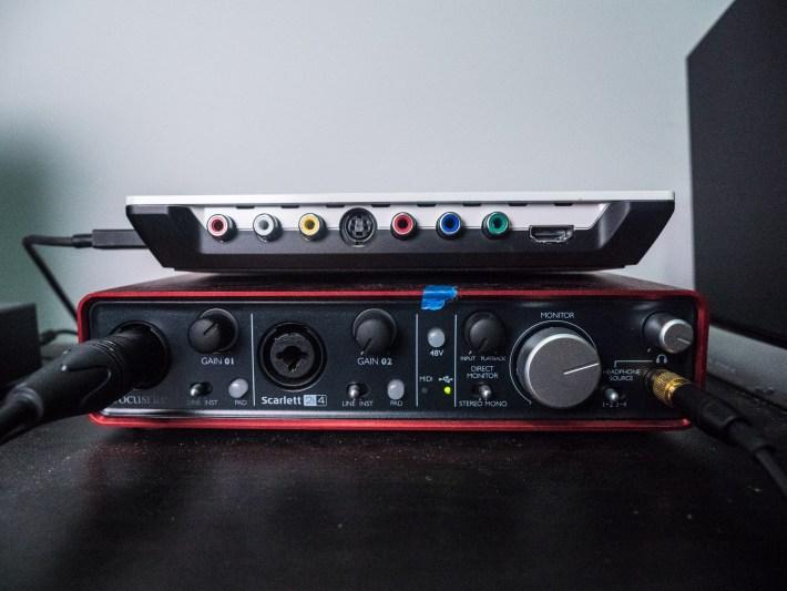Focusrite Scarlett 2i4 audio interface with Blackmagic Intensity Shuttle