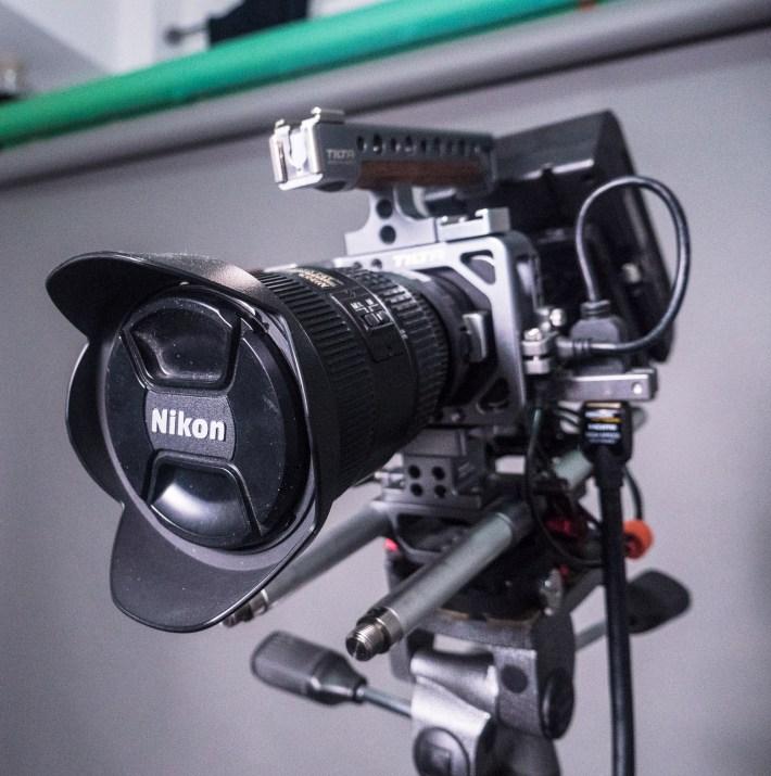 Blackmagic Pocket Cinema Camera with Metabones Speedbooster and pristine Nikon 17-35mm lens