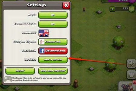 transfert village clash of clan
