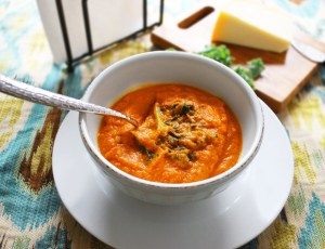 Roasted Carrot, Tomato & Kale Soup