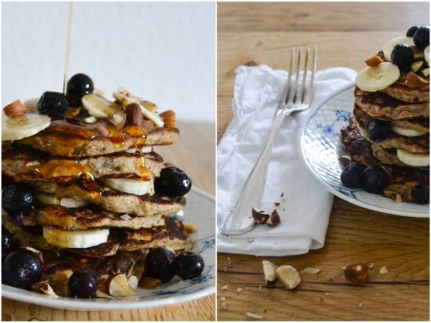 Banana pancakes w. blueberries