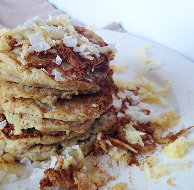Paleo Apple Harvest Pancakes that are perfect fall breakfast! These are made with coconut flour and are high in protein and low carb!