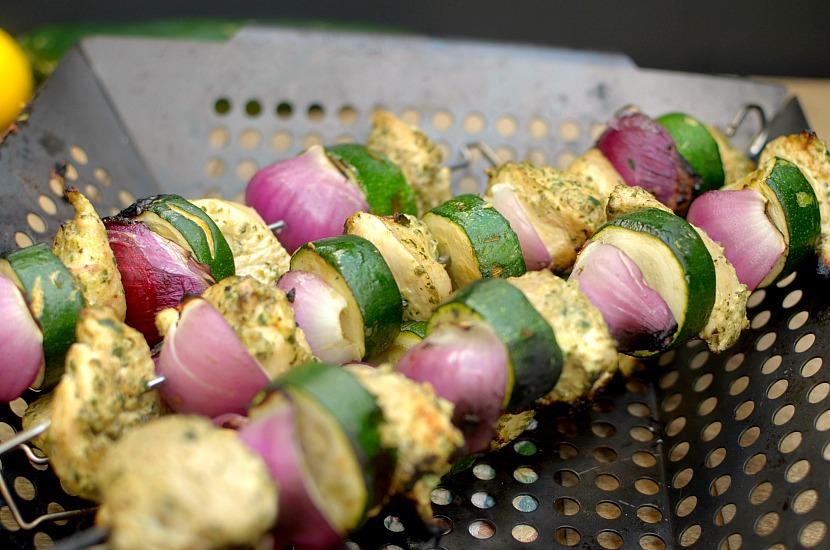 Looking for an easy grilling recipe that uses refreshing summer produce? Check out these Lemony Cucumber Mint Pesto Chicken Kebabs! Also paleo and whole-30 approved!