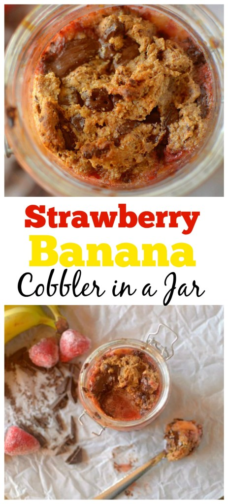 Have your dessert and eat it too, for breakfast! You'd be amazed that this Dark Chocolate Strawberry Banana Cobbler in a Jar is healthy and paleo + vegan!