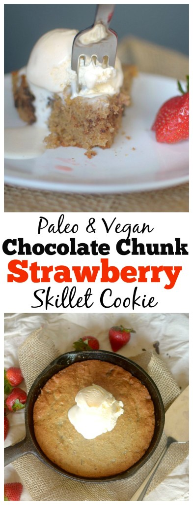 Do you love cookies? You'll swoon over this Paleo Roasted Strawberry Choco-chunk Skillet Cookie! You only need one bowl and 8 ingredients! {Vegan option}