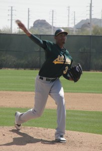 Michael Ynoa was throwing in the mid-90s in Saturday's Double-A game at Papago Park