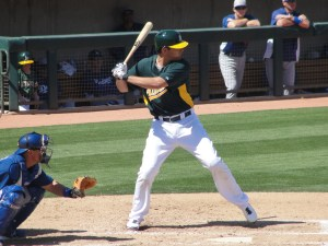 Nate Freiman went 0-for-4 in his spring debut for the A's