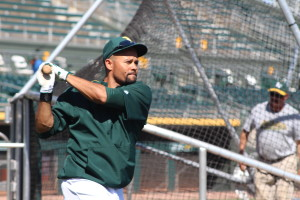 Coco Crisp was lining the ball hard throughout batting practice.