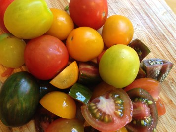 Mixed heirloom tomatoes for the Watermelon Salad.