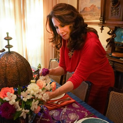 Moroccan Feast: Making the flower arrangement for the center piece.