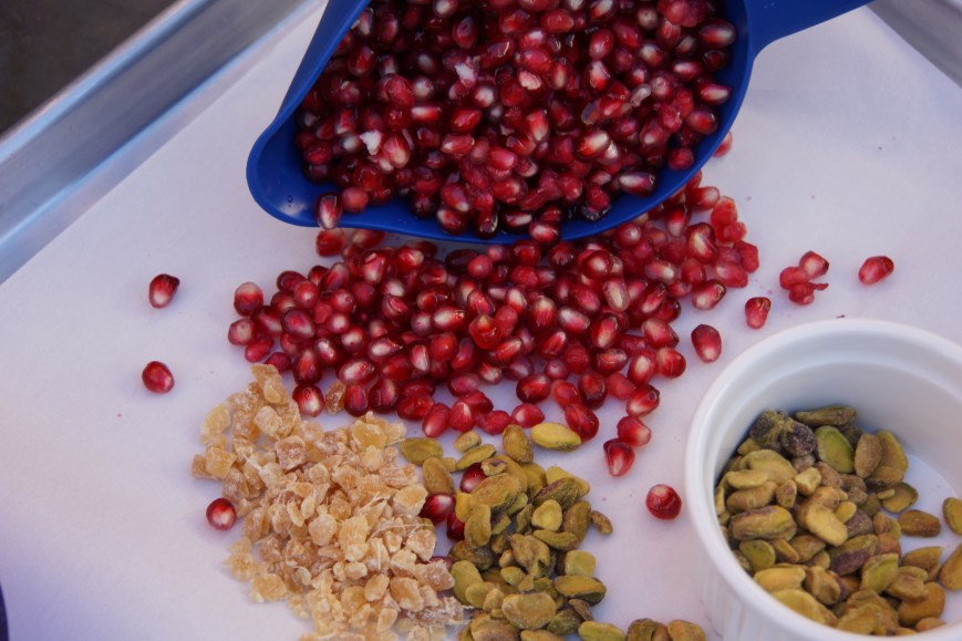 The juiciness of the fresh pomegranate seeds, the subtle heat from the crystalized ginger and the crunch of the pistachio nuts combine for an exquisite finish to the Moroccan feast!