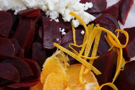 Toss orange peel with beets.