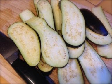 Thickly slice all eggplants.