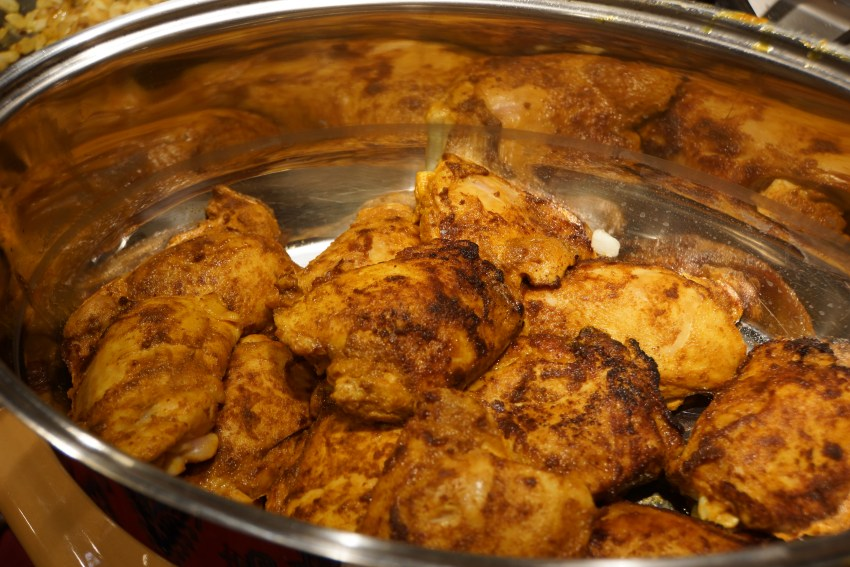 In a large saute pan, heat oil and brown chicken pieces. Remove to a Dutch oven or roasting pan with lid.
